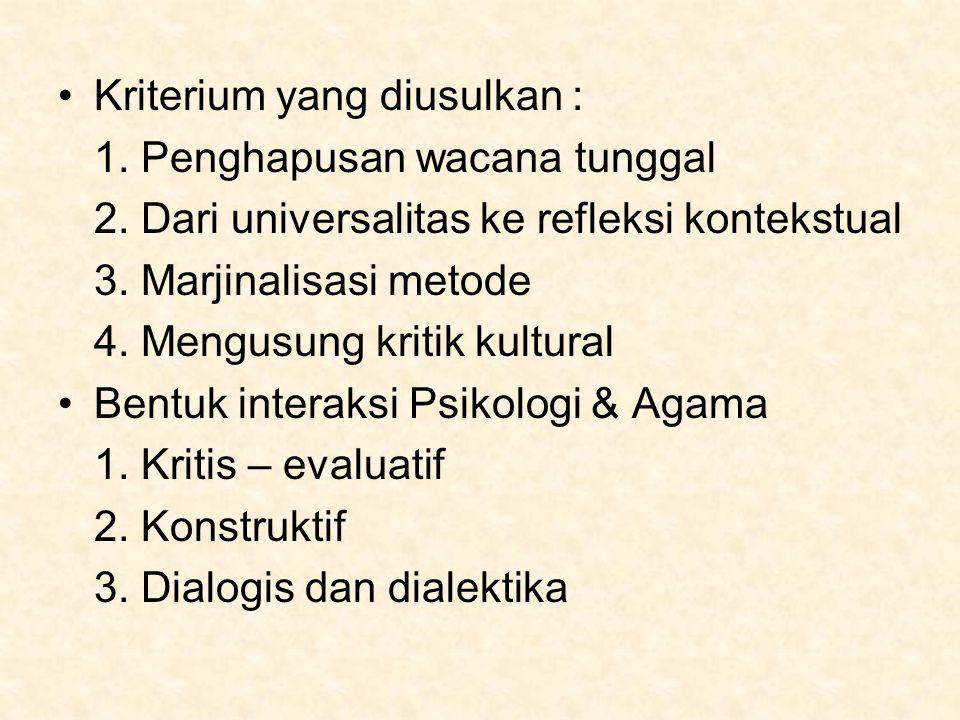 Kriterium yang diusulkan : 1. Penghapusan wacana tunggal 2. Dari universalitas ke refleksi kontekstual 3. Marjinalisasi metode 4. Mengusung kritik kul
