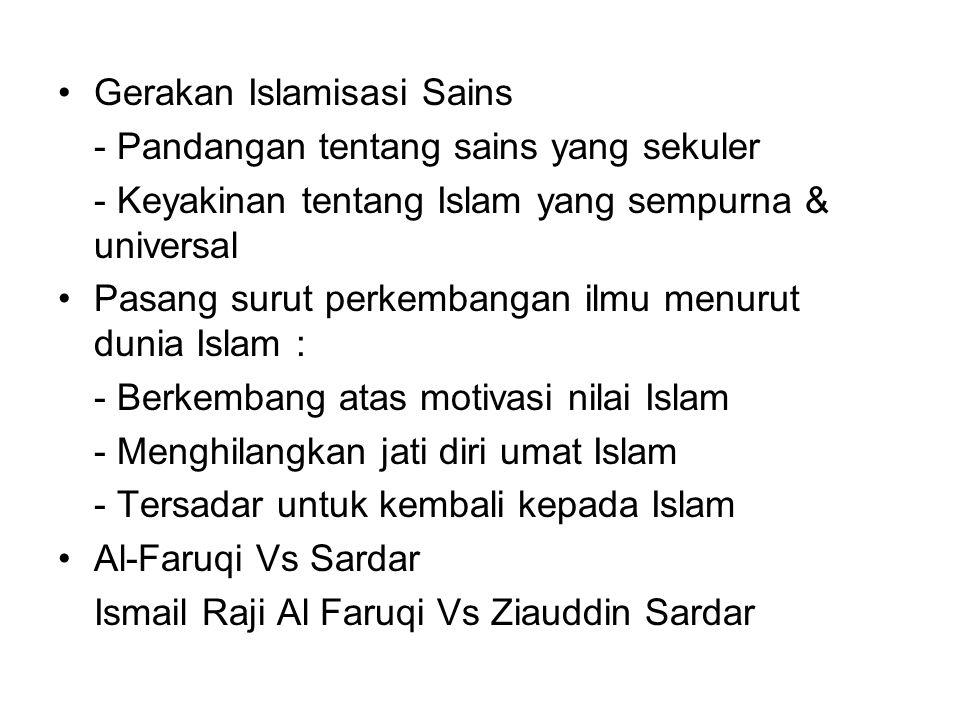 Gerakan Islamisasi Sains - Pandangan tentang sains yang sekuler - Keyakinan tentang Islam yang sempurna & universal Pasang surut perkembangan ilmu men