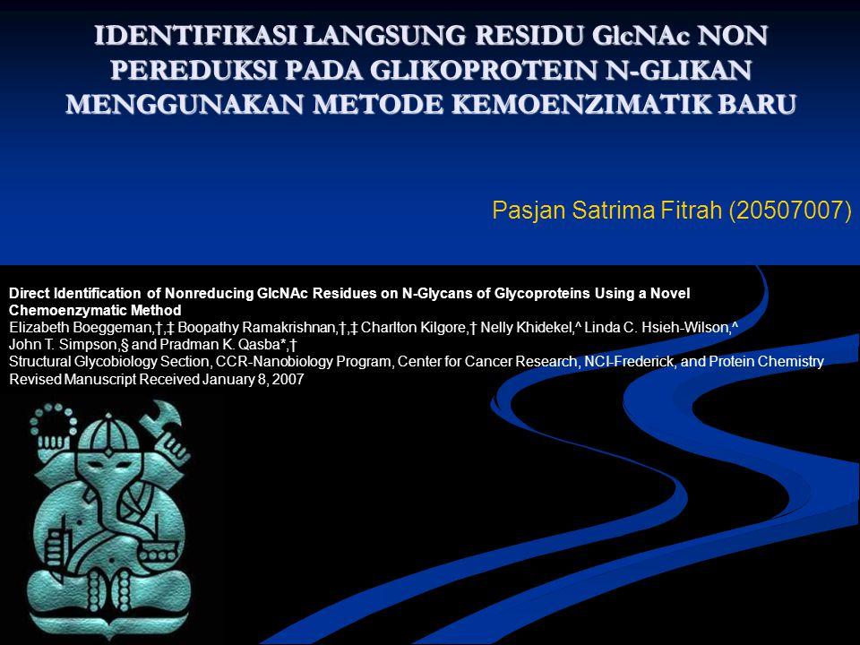 IDENTIFIKASI LANGSUNG RESIDU GlcNAc NON PEREDUKSI PADA GLIKOPROTEIN N-GLIKAN MENGGUNAKAN METODE KEMOENZIMATIK BARU Direct Identification of Nonreducin
