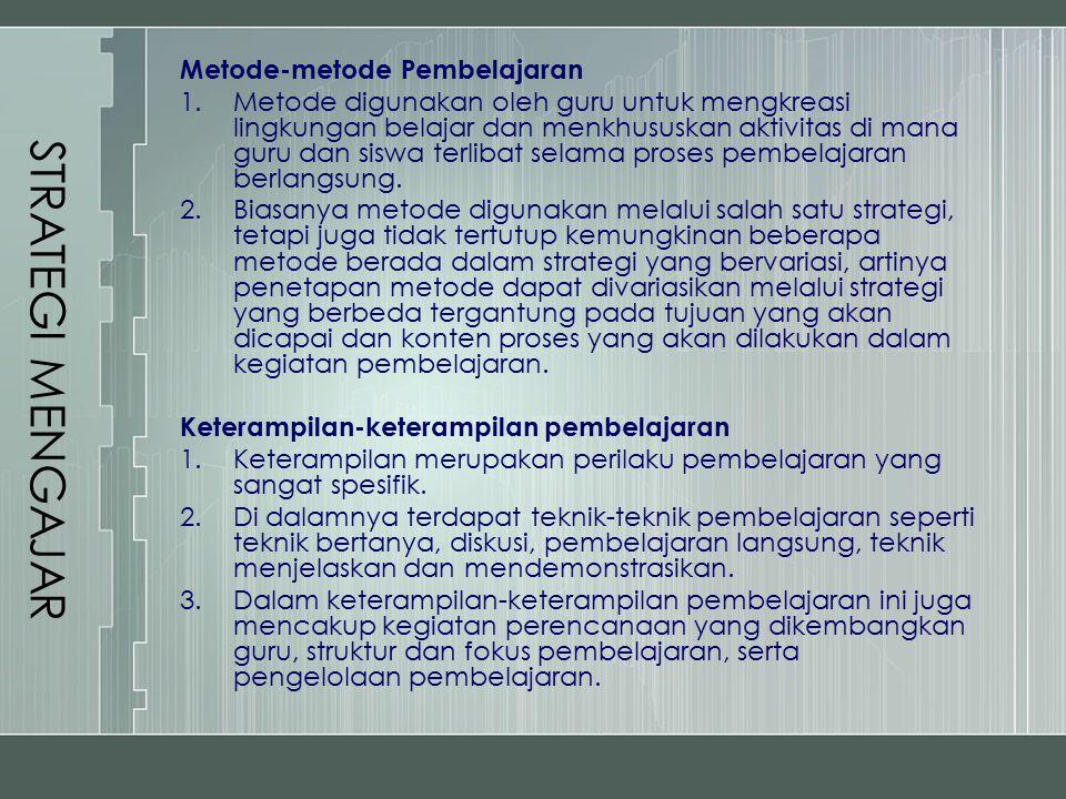 Metode-metode Pembelajaran 1.Metode digunakan oleh guru untuk mengkreasi lingkungan belajar dan menkhususkan aktivitas di mana guru dan siswa terlibat