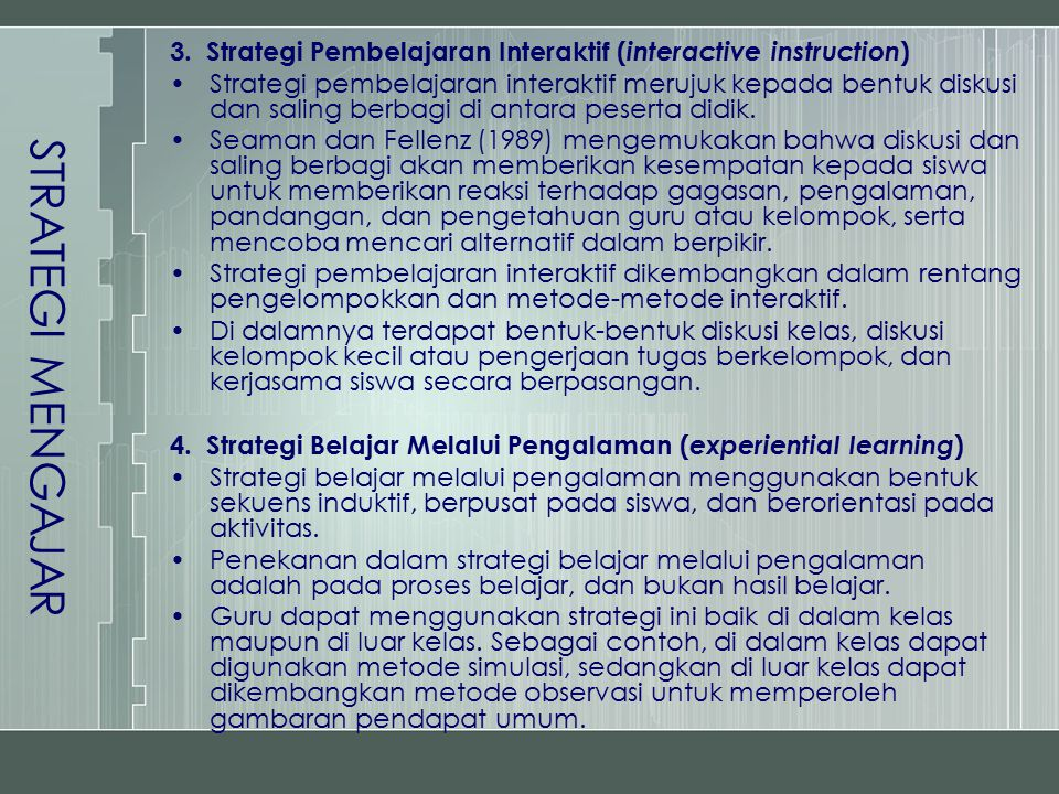 3. Strategi Pembelajaran Interaktif ( interactive instruction ) Strategi pembelajaran interaktif merujuk kepada bentuk diskusi dan saling berbagi di a