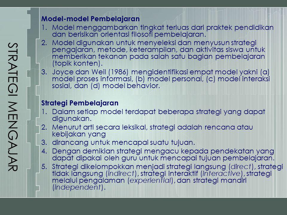 Metode-metode Pembelajaran 1.Metode digunakan oleh guru untuk mengkreasi lingkungan belajar dan menkhususkan aktivitas di mana guru dan siswa terlibat selama proses pembelajaran berlangsung.