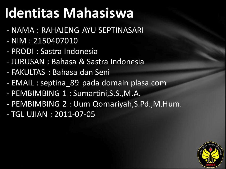 Identitas Mahasiswa - NAMA : RAHAJENG AYU SEPTINASARI - NIM : 2150407010 - PRODI : Sastra Indonesia - JURUSAN : Bahasa & Sastra Indonesia - FAKULTAS :