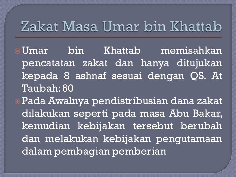  Umar bin Khattab memisahkan pencatatan zakat dan hanya ditujukan kepada 8 ashnaf sesuai dengan QS. At Taubah: 60  Pada Awalnya pendistribusian dana