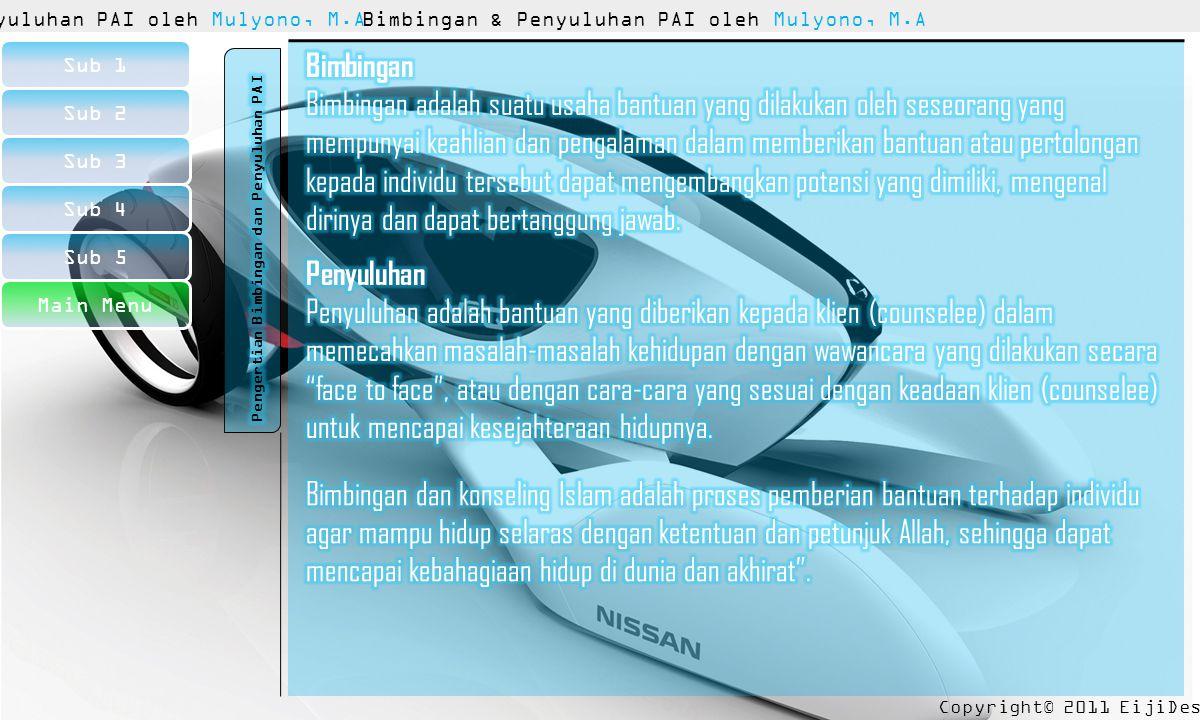 Copyright© 2011 EijiDesu™ Sub 1 Sub 2 Sub 3 Sub 4 Sub 5 Bimbingan & Penyuluhan PAI oleh Mulyono, M.A Ananda Sholikatun Nisa' (07110107) Choirul Amin (08110169) M.