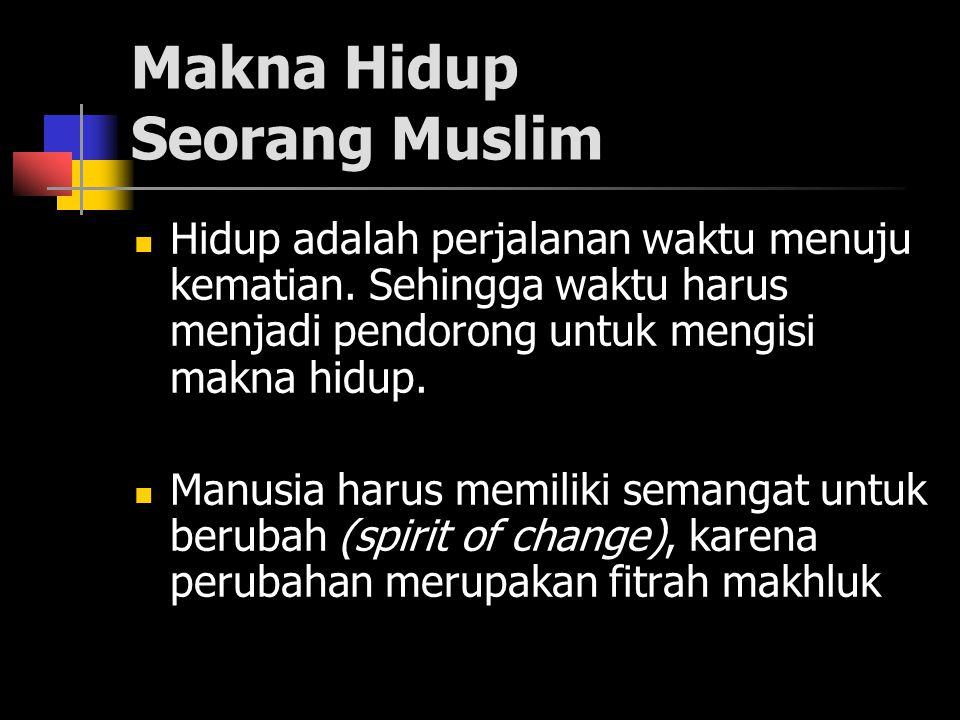 Makna Hidup Seorang Muslim Hidup adalah perjalanan waktu menuju kematian.