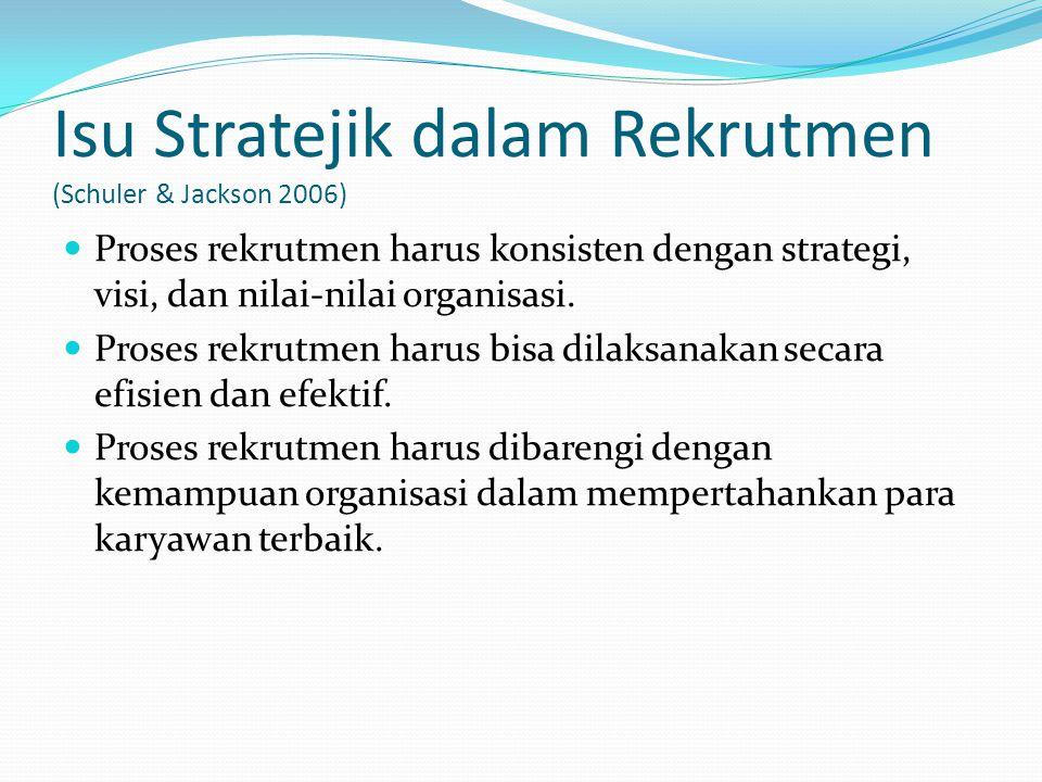Isu Stratejik dalam Rekrutmen (Schuler & Jackson 2006) Proses rekrutmen harus konsisten dengan strategi, visi, dan nilai-nilai organisasi. Proses rekr