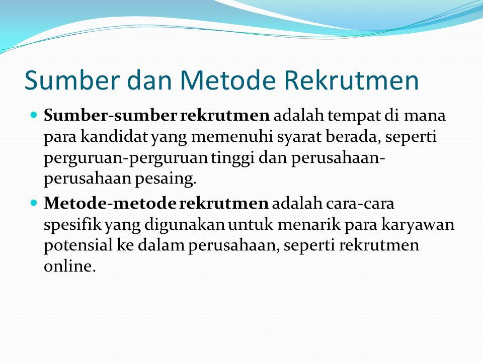 Sumber dan Metode Rekrutmen Internal (Schuler & Jackson 2006) Sumber Internal Promosi Transfer Penarikan Kembali (Rehire) Metode Internal Pengumuman Lowongan Jabatan (Job Posting) Persediaan Bakat (Talent Inventory)