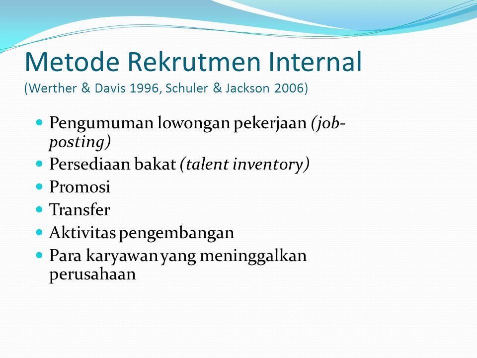 Metode Rekrutmen Internal (Werther & Davis 1996, Schuler & Jackson 2006) Pengumuman lowongan pekerjaan (job- posting) Persediaan bakat (talent invento