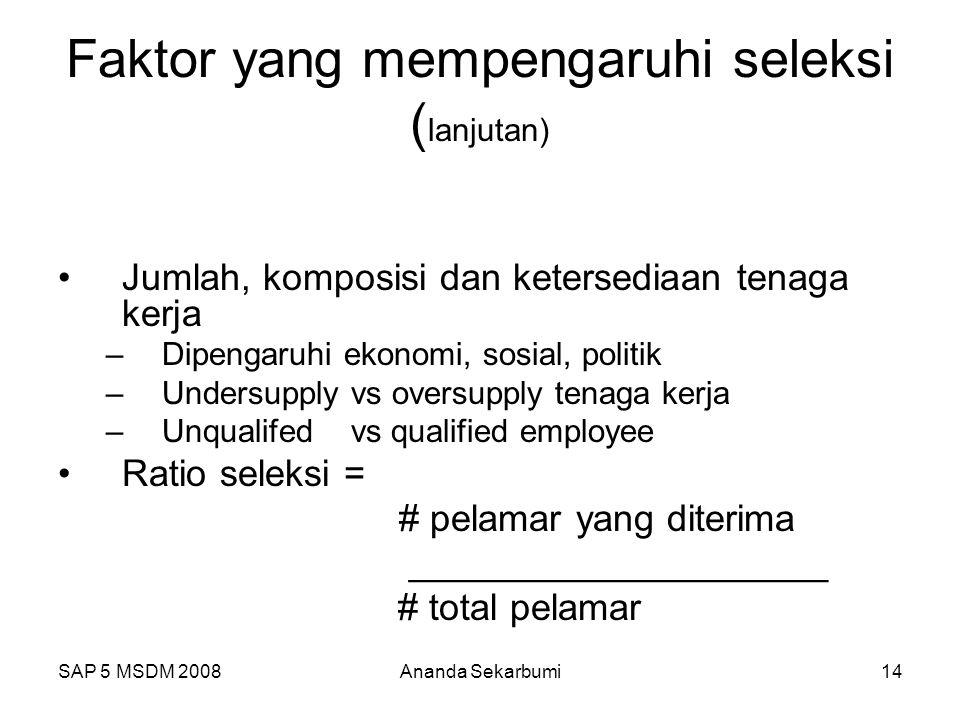 SAP 5 MSDM 2008Ananda Sekarbumi14 Faktor yang mempengaruhi seleksi ( lanjutan) Jumlah, komposisi dan ketersediaan tenaga kerja –Dipengaruhi ekonomi, s
