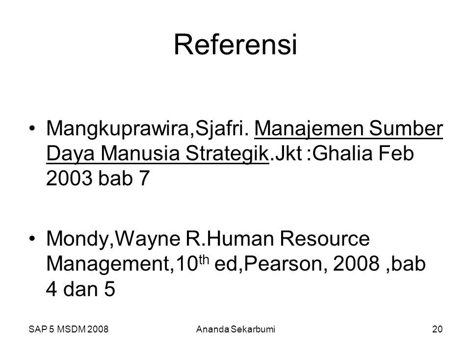 SAP 5 MSDM 2008Ananda Sekarbumi20 Referensi Mangkuprawira,Sjafri. Manajemen Sumber Daya Manusia Strategik.Jkt :Ghalia Feb 2003 bab 7 Mondy,Wayne R.Hum