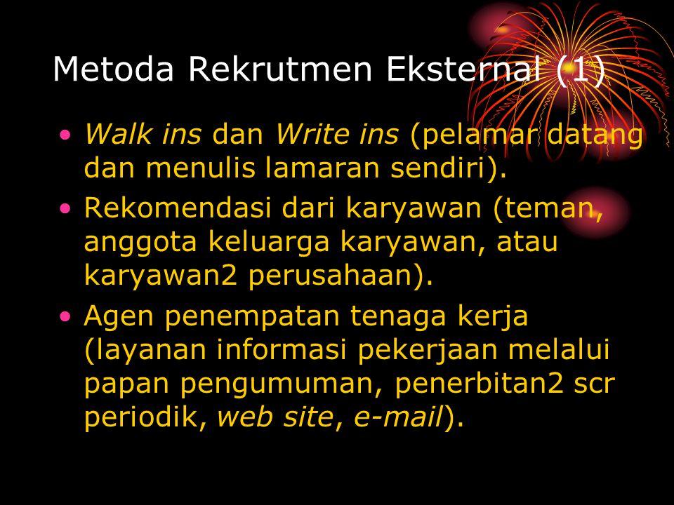 Metoda Rekrutmen Eksternal (1) Walk ins dan Write ins (pelamar datang dan menulis lamaran sendiri).