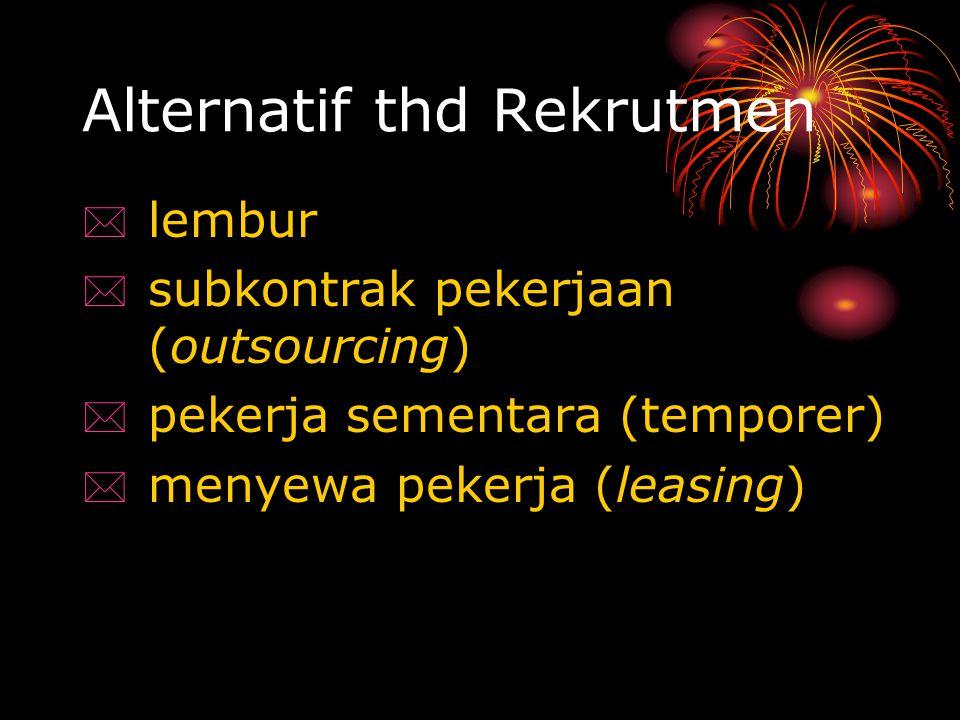 Alternatif thd Rekrutmen  lembur  subkontrak pekerjaan (outsourcing)  pekerja sementara (temporer)  menyewa pekerja (leasing)