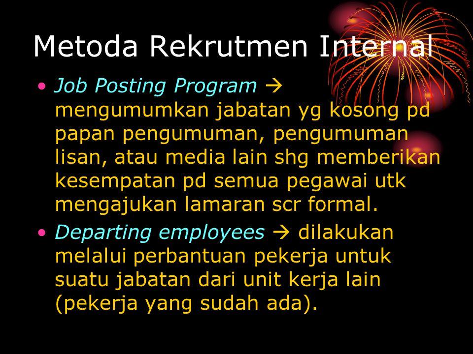 Metoda Rekrutmen Internal Job Posting Program  mengumumkan jabatan yg kosong pd papan pengumuman, pengumuman lisan, atau media lain shg memberikan kesempatan pd semua pegawai utk mengajukan lamaran scr formal.