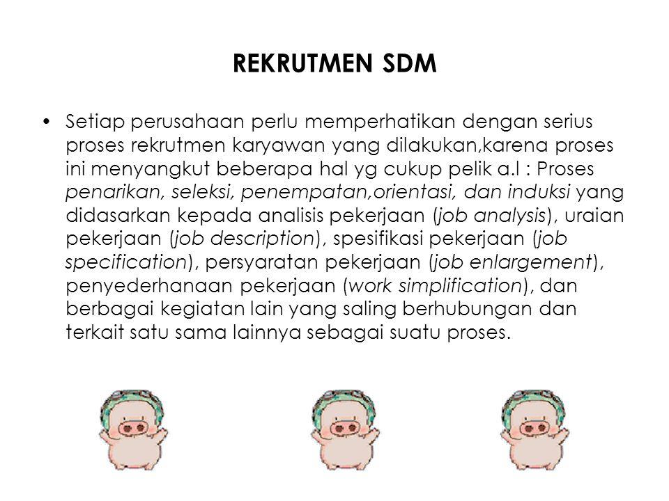 REKRUTMEN SDM Setiap perusahaan perlu memperhatikan dengan serius proses rekrutmen karyawan yang dilakukan,karena proses ini menyangkut beberapa hal y