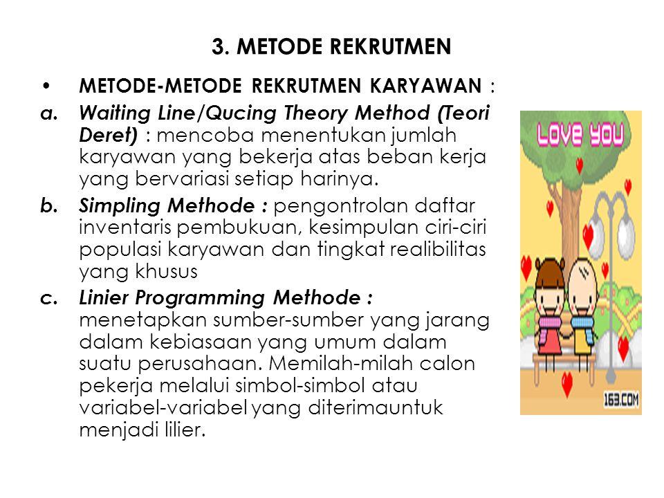 3. METODE REKRUTMEN METODE-METODE REKRUTMEN KARYAWAN : a.Waiting Line/Qucing Theory Method (Teori Deret) : mencoba menentukan jumlah karyawan yang bek