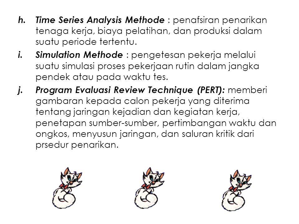 h.Time Series Analysis Methode : penafsiran penarikan tenaga kerja, biaya pelatihan, dan produksi dalam suatu periode tertentu. i.Simulation Methode :