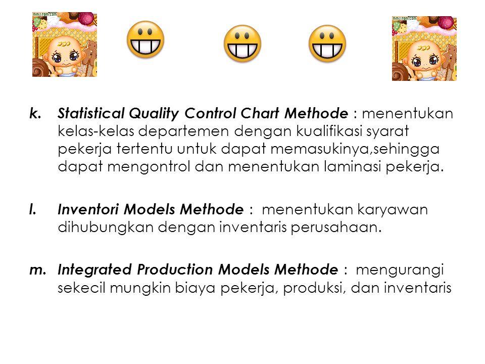 k.Statistical Quality Control Chart Methode : menentukan kelas-kelas departemen dengan kualifikasi syarat pekerja tertentu untuk dapat memasukinya,seh