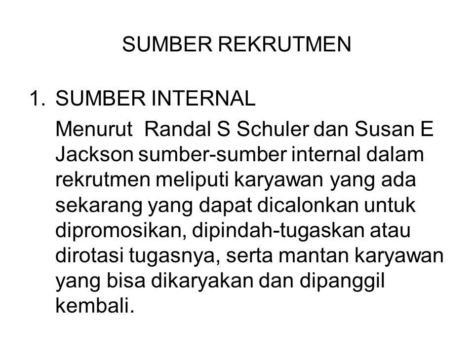 SUMBER REKRUTMEN 1.SUMBER INTERNAL Menurut Randal S Schuler dan Susan E Jackson sumber-sumber internal dalam rekrutmen meliputi karyawan yang ada seka