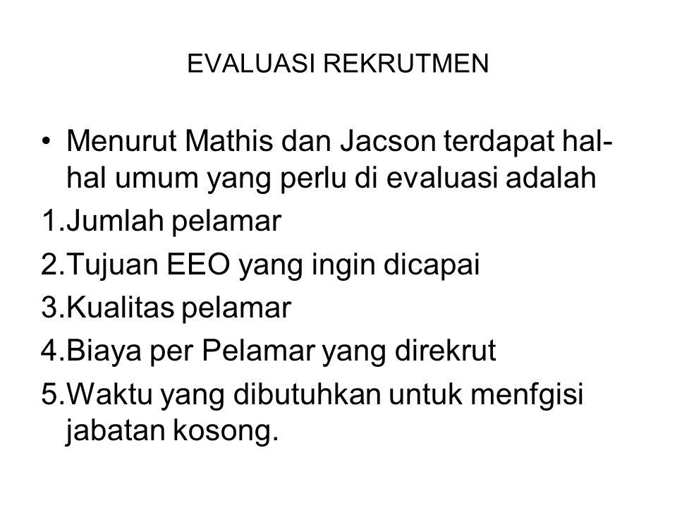 EVALUASI REKRUTMEN Menurut Mathis dan Jacson terdapat hal- hal umum yang perlu di evaluasi adalah 1.Jumlah pelamar 2.Tujuan EEO yang ingin dicapai 3.K