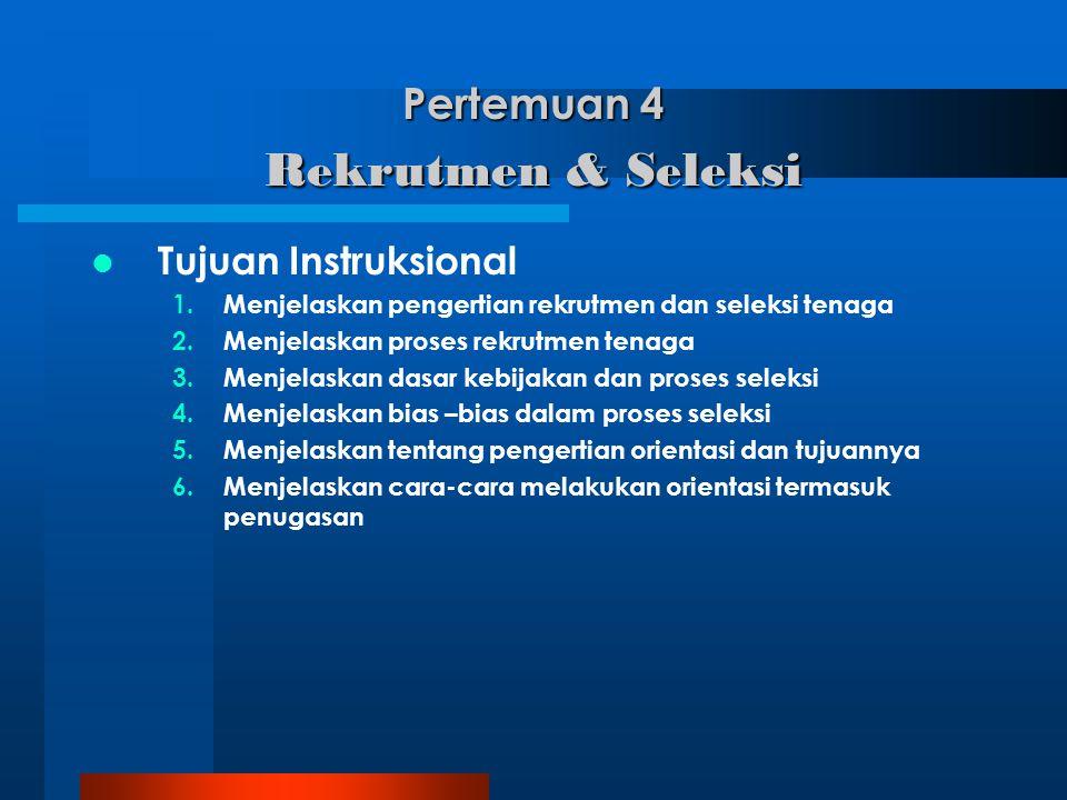 Pertemuan 4 Rekrutmen & Seleksi Tujuan Instruksional 1.Menjelaskan pengertian rekrutmen dan seleksi tenaga 2.Menjelaskan proses rekrutmen tenaga 3.Men
