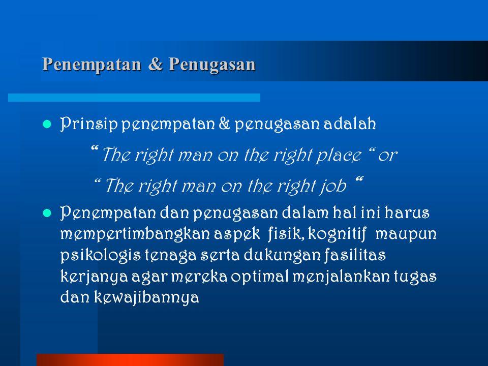 """Penempatan & Penugasan Prinsip penempatan & penugasan adalah """" The right man on the right place """" or """" The right man on the right job """" Penempatan dan"""