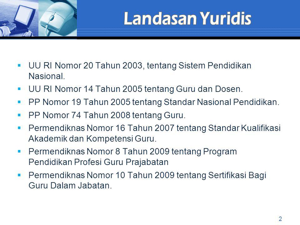  UU RI Nomor 20 Tahun 2003, tentang Sistem Pendidikan Nasional.