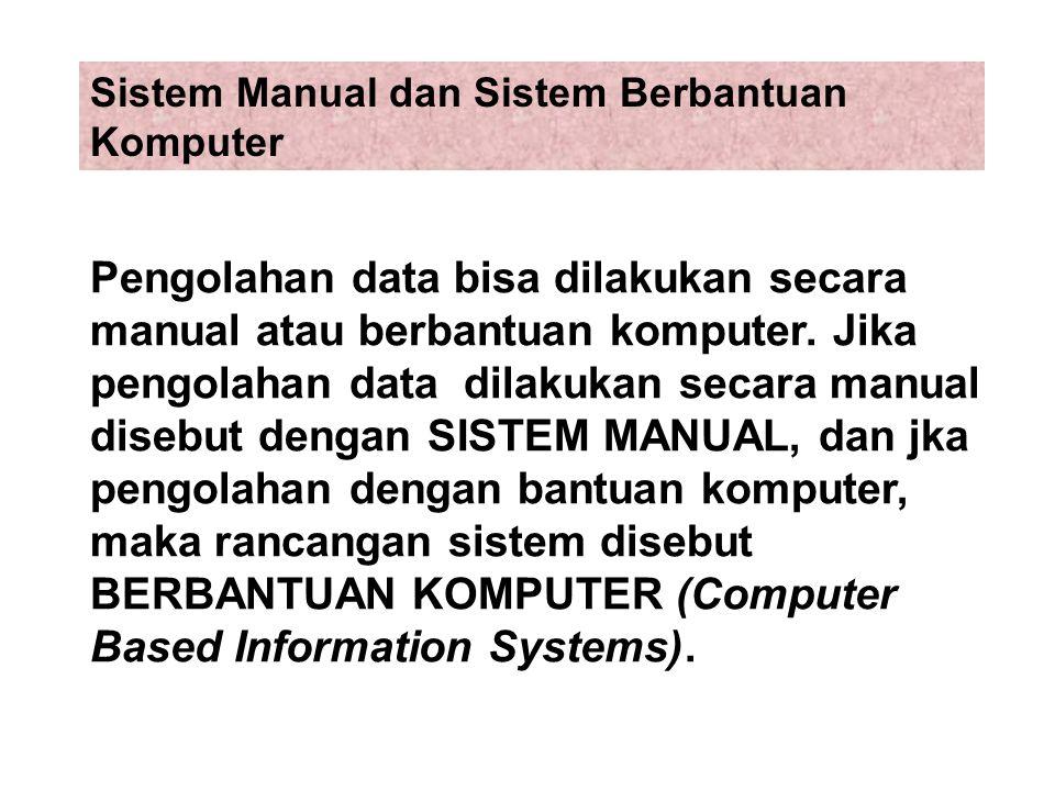 Pengolahan data bisa dilakukan secara manual atau berbantuan komputer. Jika pengolahan data dilakukan secara manual disebut dengan SISTEM MANUAL, dan
