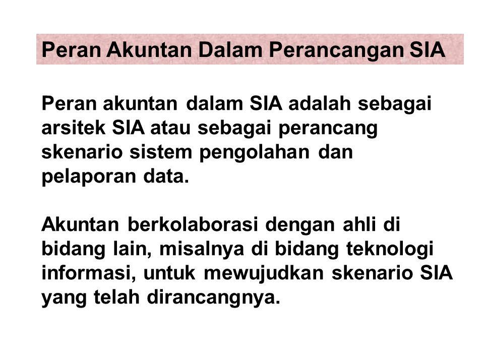 Peran akuntan dalam SIA adalah sebagai arsitek SIA atau sebagai perancang skenario sistem pengolahan dan pelaporan data. Akuntan berkolaborasi dengan