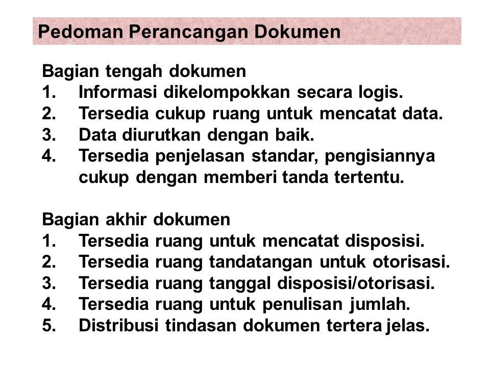 Bagian tengah dokumen 1.Informasi dikelompokkan secara logis. 2.Tersedia cukup ruang untuk mencatat data. 3.Data diurutkan dengan baik. 4.Tersedia pen
