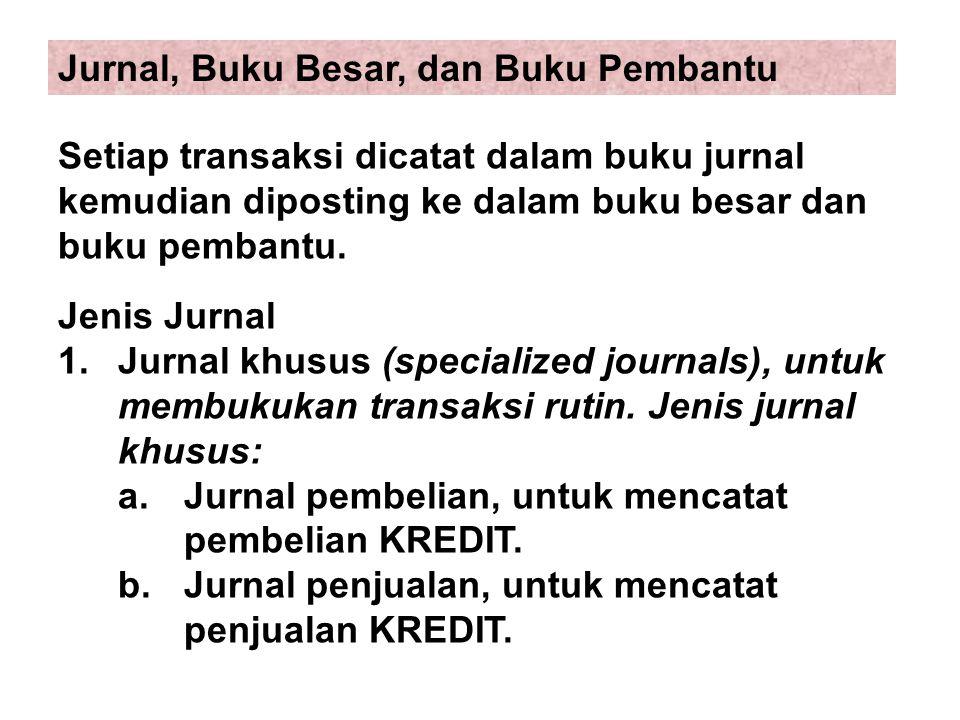 Setiap transaksi dicatat dalam buku jurnal kemudian diposting ke dalam buku besar dan buku pembantu. Jenis Jurnal 1. Jurnal khusus (specialized journa