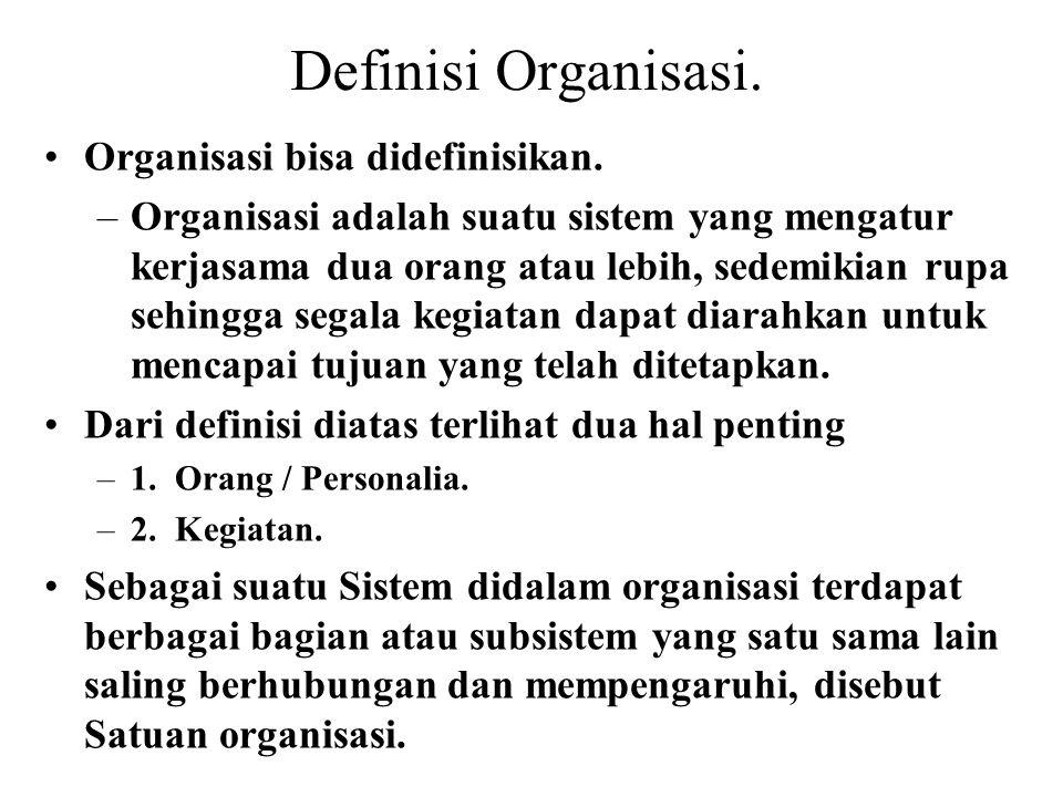 Definisi Organisasi. Organisasi bisa didefinisikan. –Organisasi adalah suatu sistem yang mengatur kerjasama dua orang atau lebih, sedemikian rupa sehi
