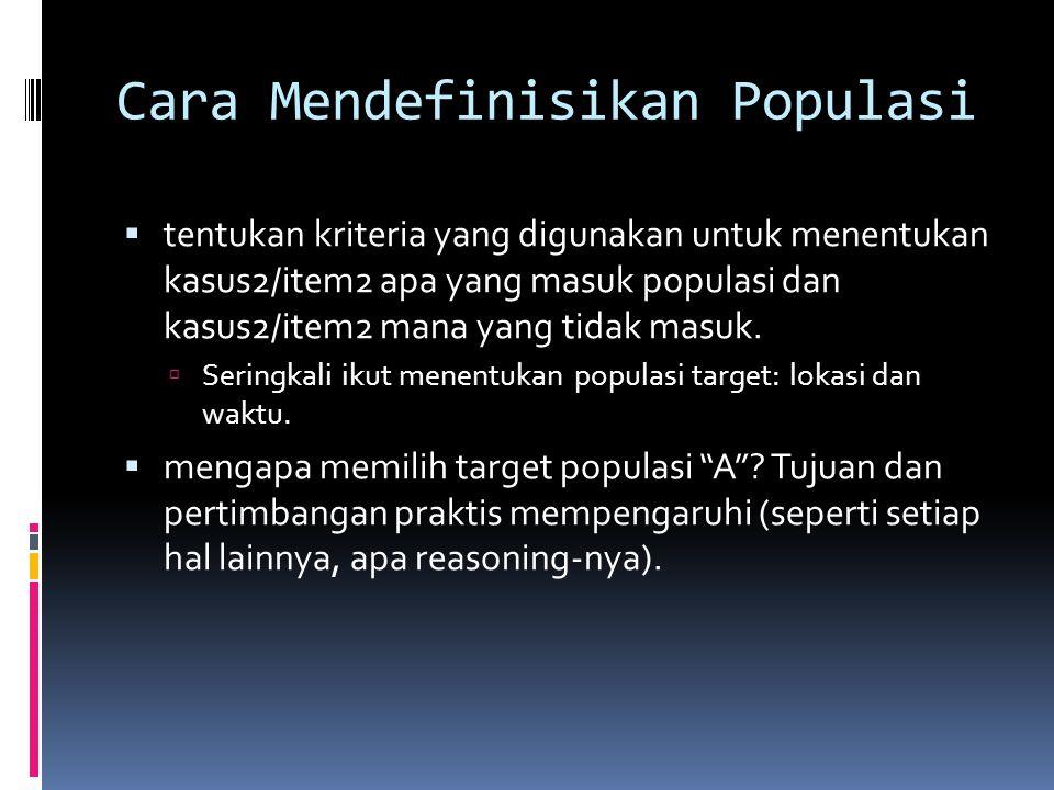 Cara Mendefinisikan Populasi  tentukan kriteria yang digunakan untuk menentukan kasus2/item2 apa yang masuk populasi dan kasus2/item2 mana yang tidak masuk.
