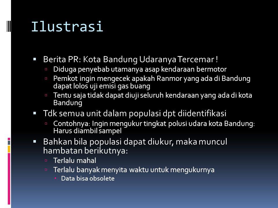 Ilustrasi  Berita PR: Kota Bandung Udaranya Tercemar !  Diduga penyebab utamanya asap kendaraan bermotor  Pemkot ingin mengecek apakah Ranmor yang