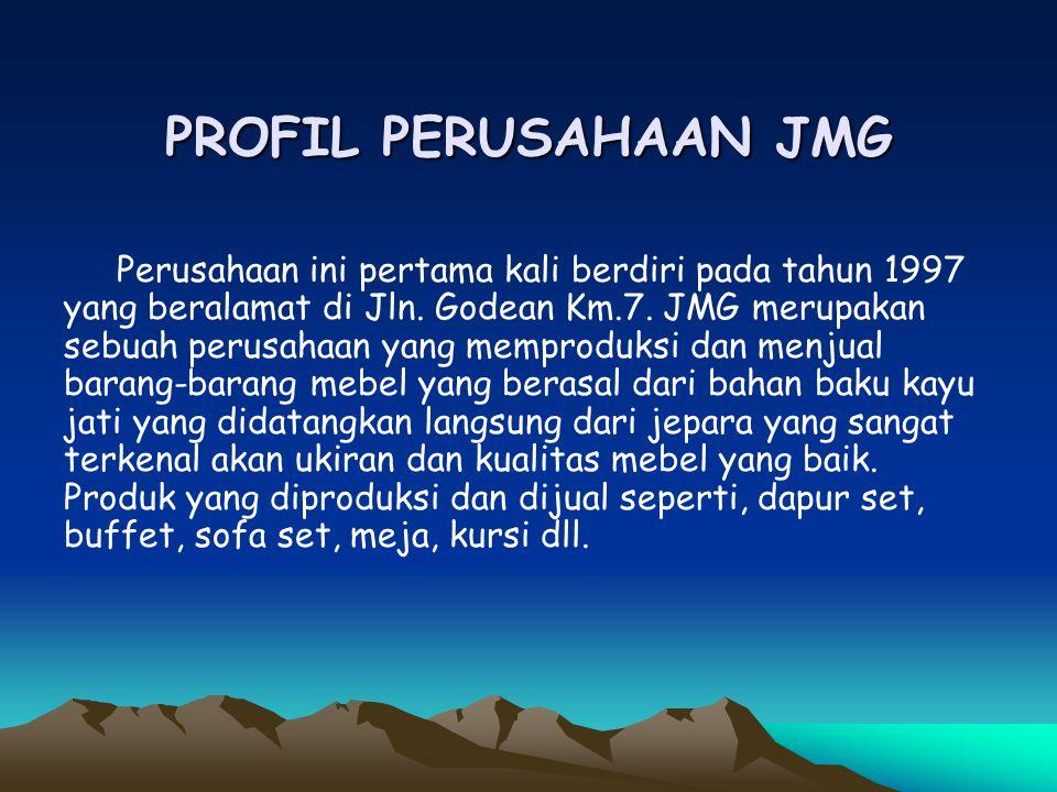 PROFIL PERUSAHAAN JMG Perusahaan ini pertama kali berdiri pada tahun 1997 yang beralamat di Jln. Godean Km.7. JMG merupakan sebuah perusahaan yang mem