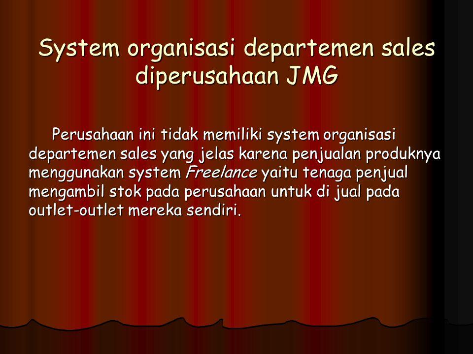 System organisasi departemen sales diperusahaan JMG Perusahaan ini tidak memiliki system organisasi departemen sales yang jelas karena penjualan produ