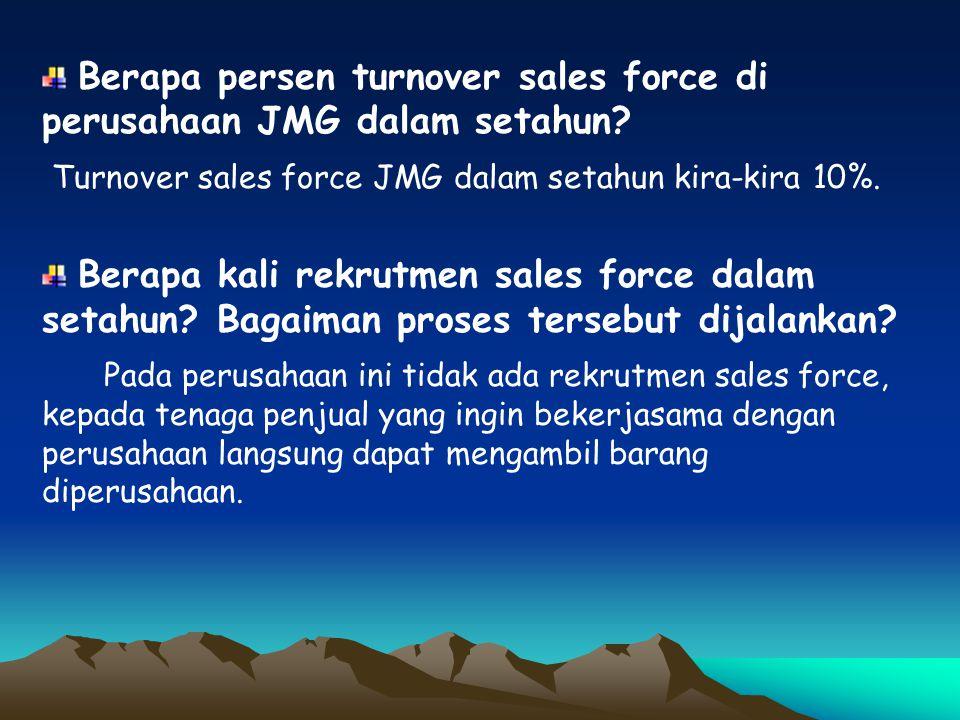 Berapa persen turnover sales force di perusahaan JMG dalam setahun? Turnover sales force JMG dalam setahun kira-kira 10%. Berapa kali rekrutmen sales