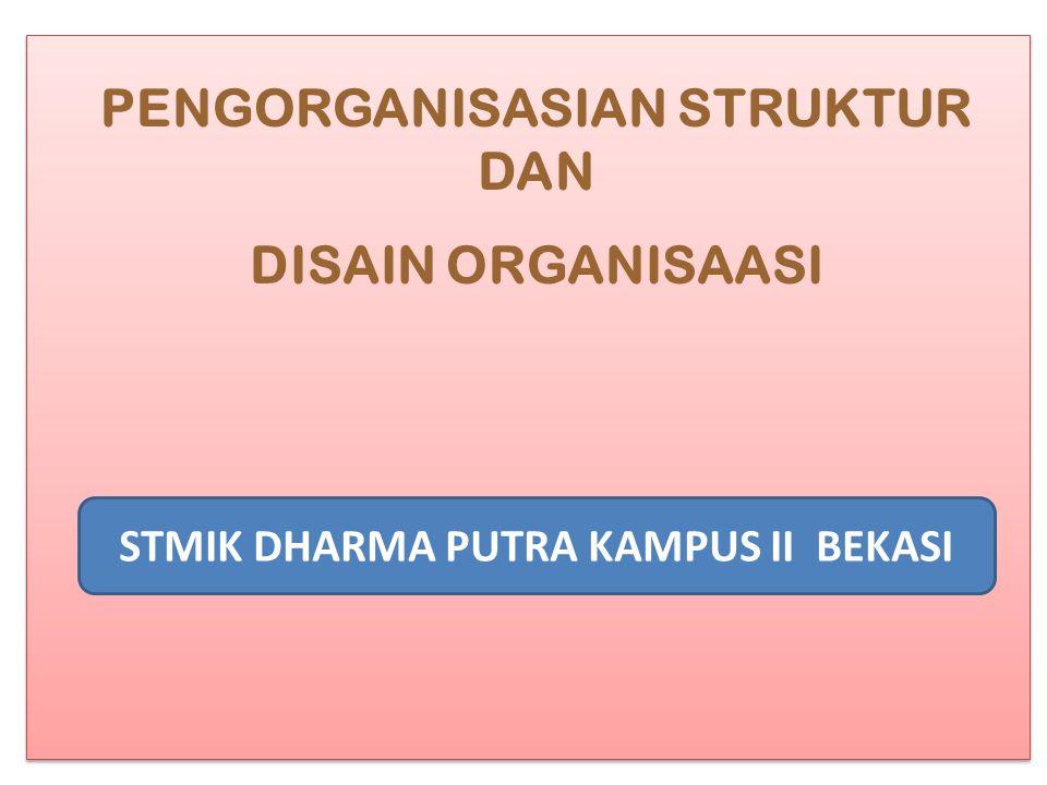 PENGORGANISASIAN STRUKTUR DAN DISAIN ORGANISAASI STMIK DHARMA PUTRA KAMPUS II BEKASI