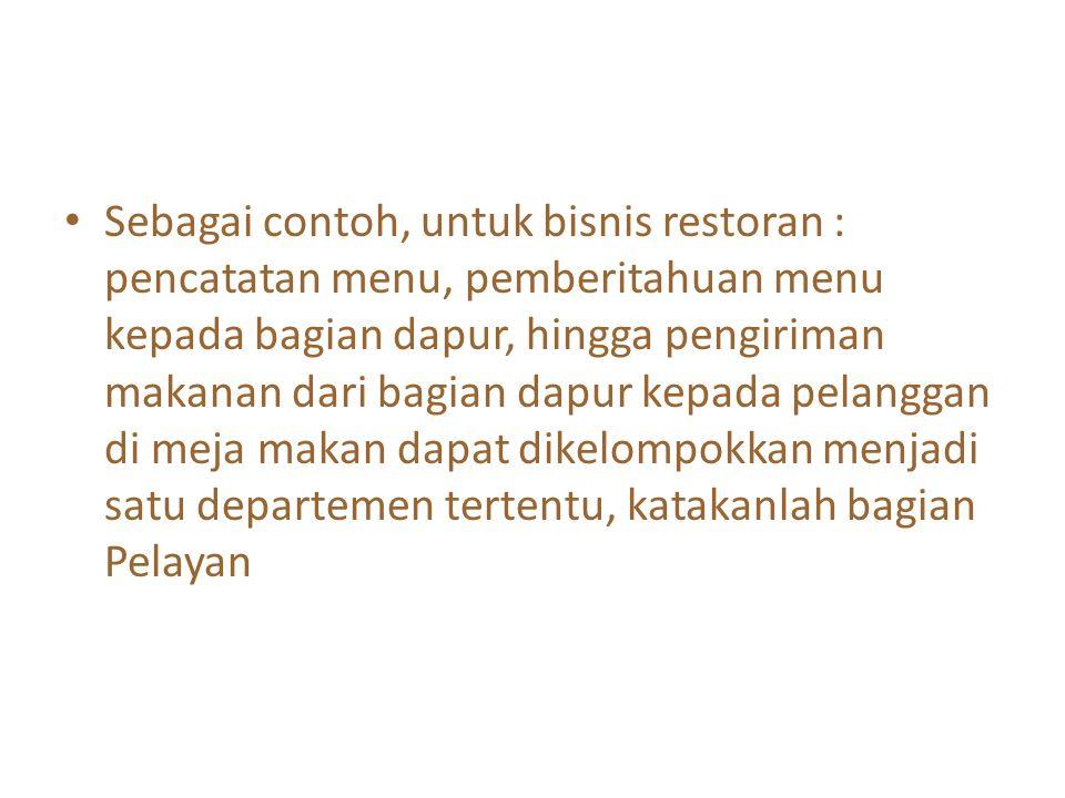 Sebagai contoh, untuk bisnis restoran : pencatatan menu, pemberitahuan menu kepada bagian dapur, hingga pengiriman makanan dari bagian dapur kepada pe