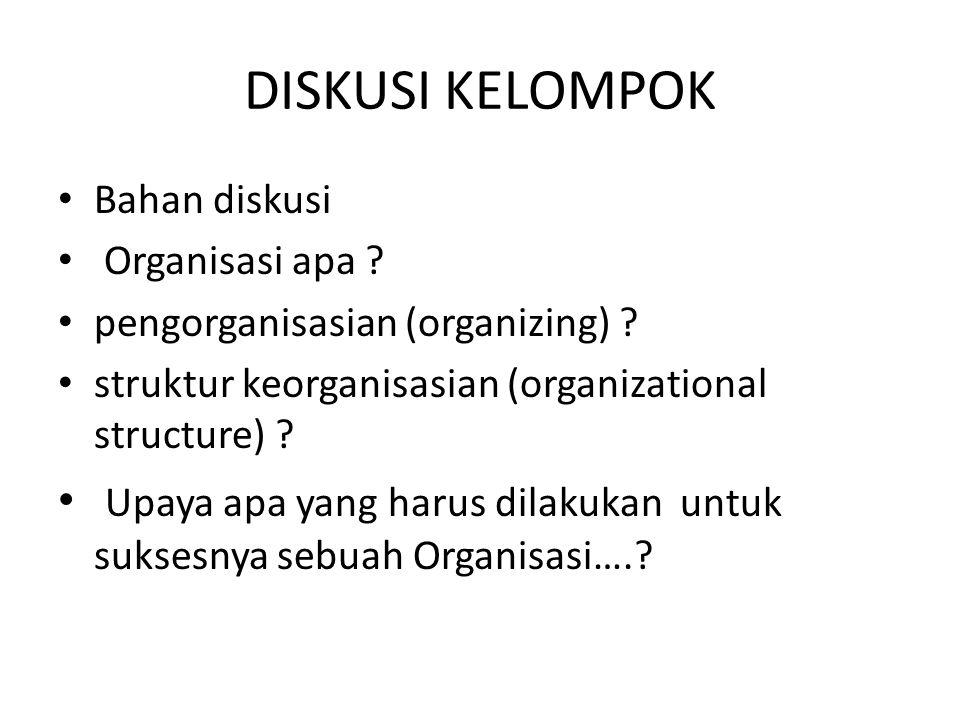 DISKUSI KELOMPOK Bahan diskusi Organisasi apa ? pengorganisasian (organizing) ? struktur keorganisasian (organizational structure) ? Upaya apa yang ha