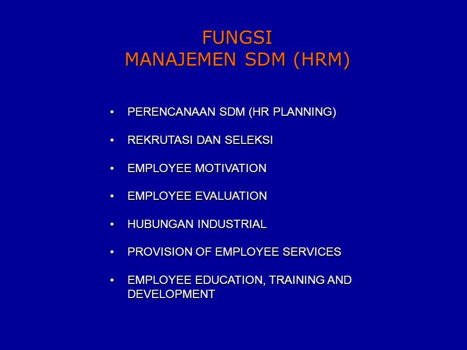 FUNGSI MANAJEMEN SDM (HRM) FUNGSI MANAJEMEN SDM (HRM) PERENCANAAN SDM (HR PLANNING) REKRUTASI DAN SELEKSI EMPLOYEE MOTIVATION EMPLOYEE EVALUATION HUBUNGAN INDUSTRIAL PROVISION OF EMPLOYEE SERVICES EMPLOYEE EDUCATION, TRAINING AND DEVELOPMENT PERENCANAAN SDM (HR PLANNING) REKRUTASI DAN SELEKSI EMPLOYEE MOTIVATION EMPLOYEE EVALUATION HUBUNGAN INDUSTRIAL PROVISION OF EMPLOYEE SERVICES EMPLOYEE EDUCATION, TRAINING AND DEVELOPMENT