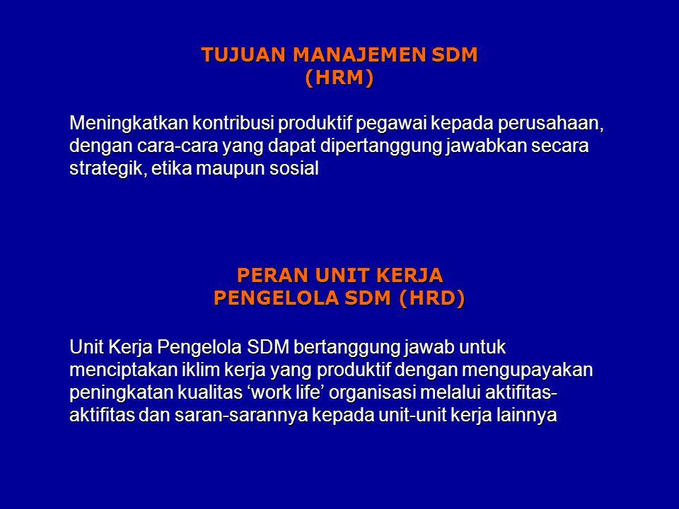 Meningkatkan kontribusi produktif pegawai kepada perusahaan, dengan cara-cara yang dapat dipertanggung jawabkan secara strategik, etika maupun sosial Unit Kerja Pengelola SDM bertanggung jawab untuk menciptakan iklim kerja yang produktif dengan mengupayakan peningkatan kualitas 'work life' organisasi melalui aktifitas- aktifitas dan saran-sarannya kepada unit-unit kerja lainnya TUJUAN MANAJEMEN SDM (HRM) PERAN UNIT KERJA PENGELOLA SDM (HRD)