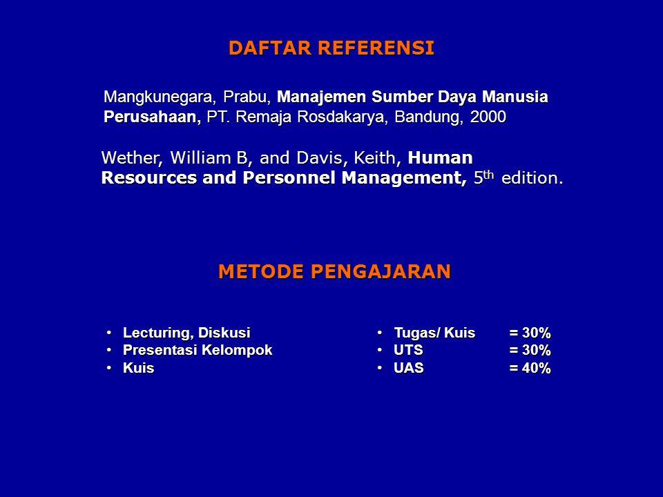 DAFTAR REFERENSI Mangkunegara, Prabu, Manajemen Sumber Daya Manusia Perusahaan, PT.