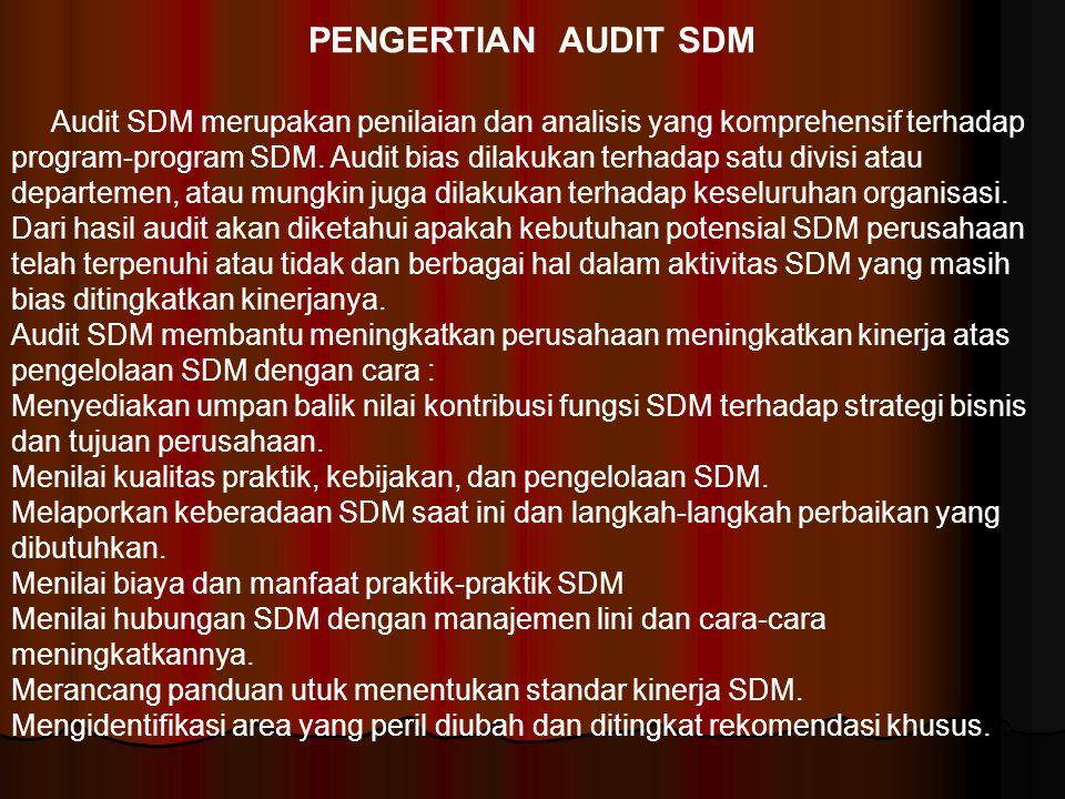 PENGERTIAN AUDIT SDM Audit SDM merupakan penilaian dan analisis yang komprehensif terhadap program-program SDM. Audit bias dilakukan terhadap satu div