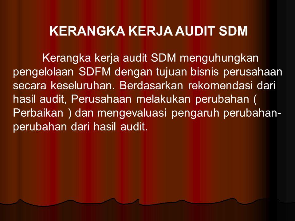 KERANGKA KERJA AUDIT SDM Kerangka kerja audit SDM menguhungkan pengelolaan SDFM dengan tujuan bisnis perusahaan secara keseluruhan. Berdasarkan rekome