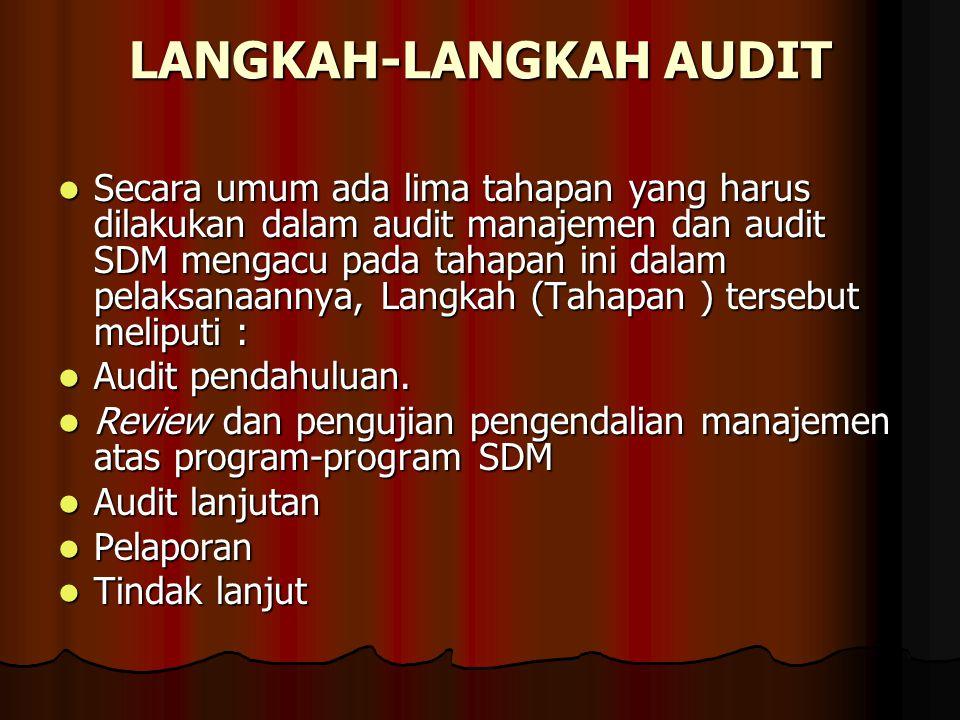 LANGKAH-LANGKAH AUDIT Secara umum ada lima tahapan yang harus dilakukan dalam audit manajemen dan audit SDM mengacu pada tahapan ini dalam pelaksanaan