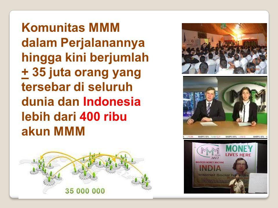 Komunitas MMM dalam Perjalanannya hingga kini berjumlah + 35 juta orang yang tersebar di seluruh dunia dan Indonesia lebih dari 400 ribu akun MMM