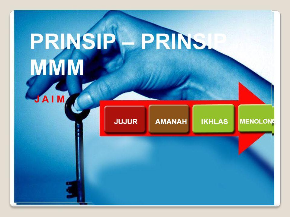 MMM MEMILIKI PRINSIP-PRINSIP Ikhlas Jujur Amanah PRINSIP-PRINSIP MMM PRINSIP – PRINSIP MMM JUJURAMANAHIKHLAS MENOLONG J A I M