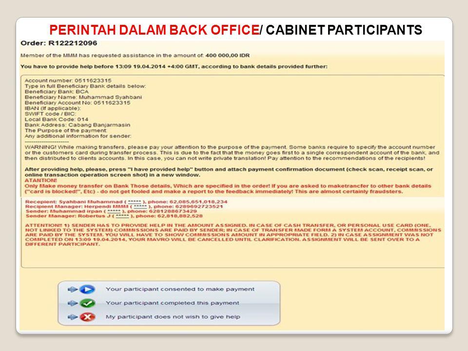 PERINTAH DALAM BACK OFFICE/ CABINET PARTICIPANTS