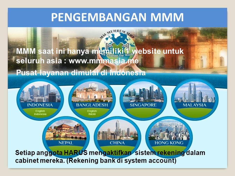 MMM saat ini hanya memiliki 1 website untuk seluruh asia : www.mmmasia.me Pusat layanan dimulai di Indonesia Setiap anggota HARUS mengaktifkan sistem rekening dalam cabinet mereka.